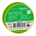 Изолента ПВХ 19мм Х 20м ЖЁЛТО-ЗЕЛЁНАЯ Schneider Electric (2420105)
