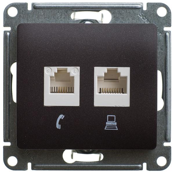 Schneider Electric Glossa (Глосса) Glossa Розетка двойная RJ 11+RJ 45 (Шоколад) GSL000885 GSL000885